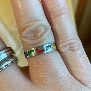Rainbow Enamel Footprint Ring size 7.25 Sterling